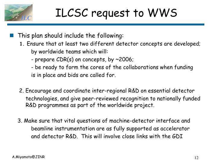 ILCSC request to WWS