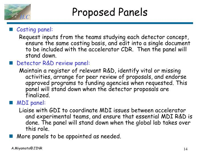 Proposed Panels