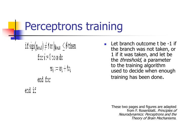Perceptrons training
