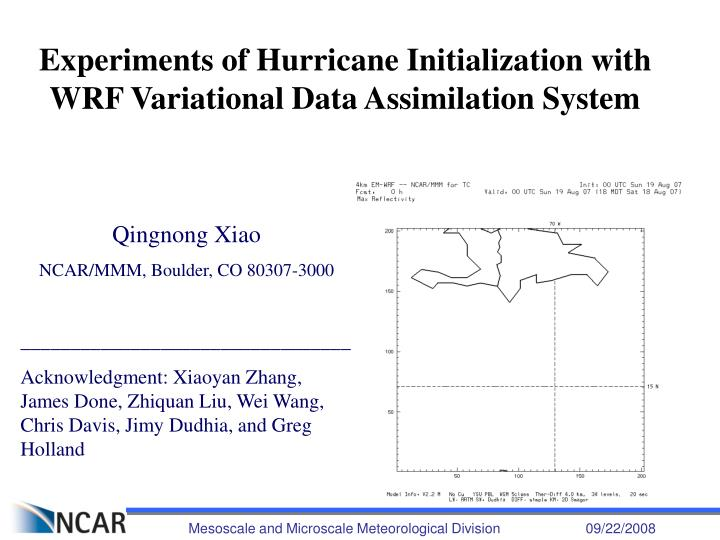 PPT - Experiments of Hurricane Initialization with WRF