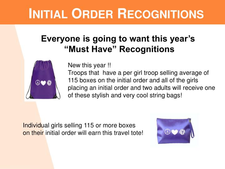 Initial Order Recognitions