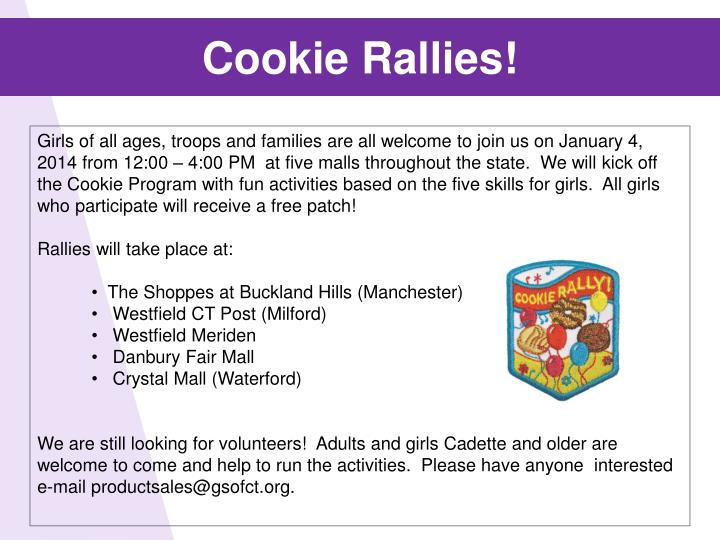 Cookie Rallies!