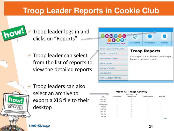 Troop Leader Reports in Cookie Club