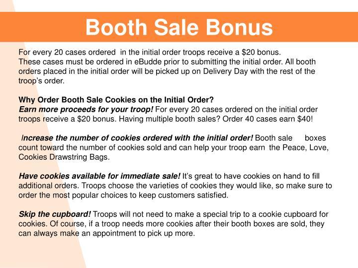 Booth Sale Bonus