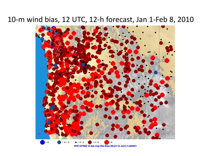 10-m wind bias, 12 UTC, 12-h forecast, Jan 1-Feb 8, 2010