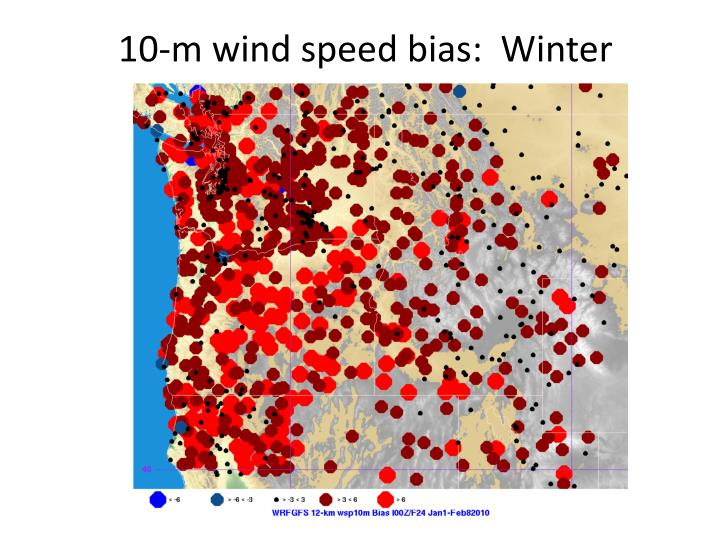 10-m wind speed bias:  Winter