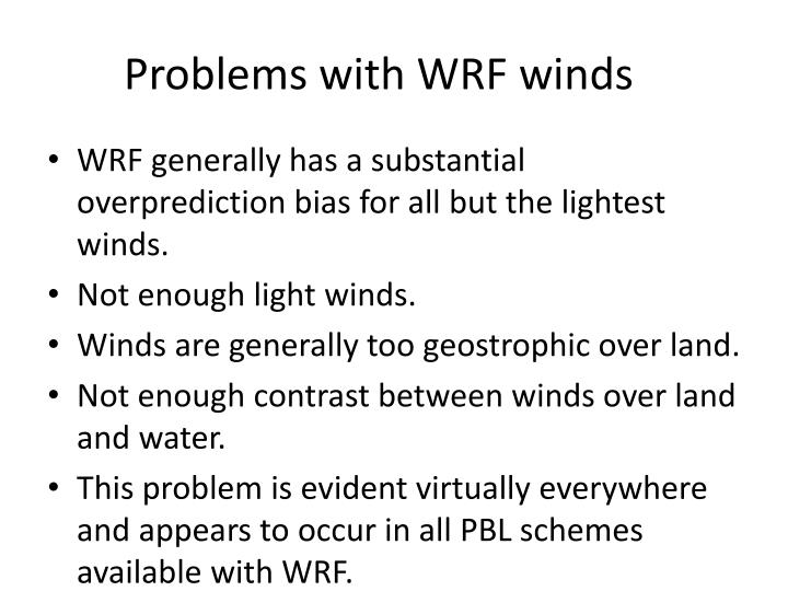 Problems with wrf winds