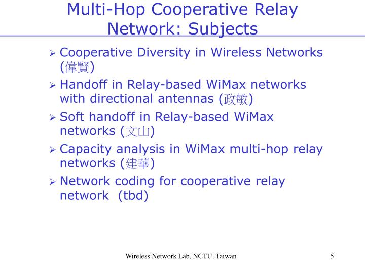 Multi-Hop Cooperative Relay Network: Subjects