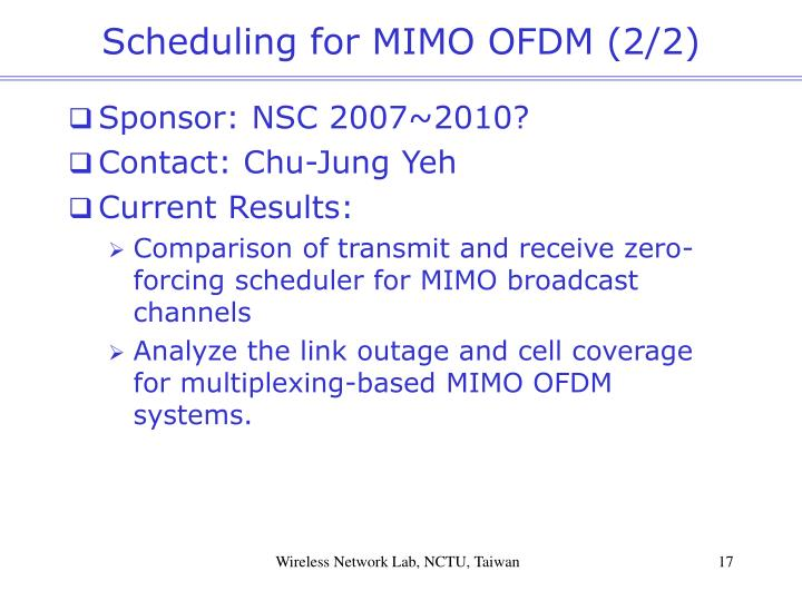 Scheduling for MIMO OFDM (2/2)