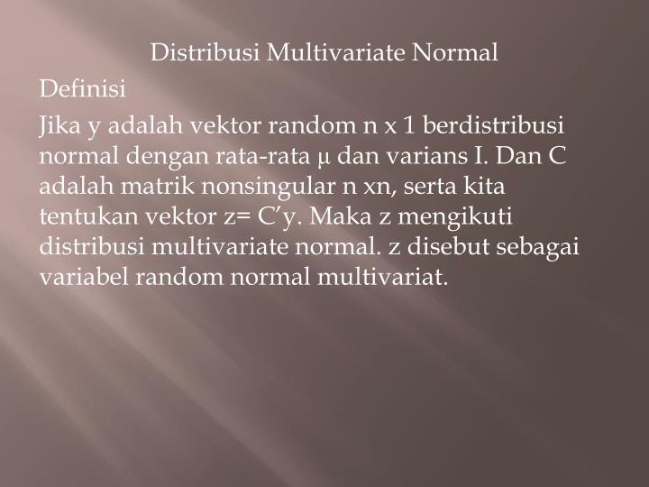 Distribusi Multivariate Normal