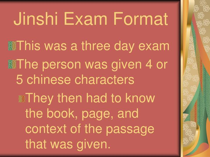 Jinshi Exam Format