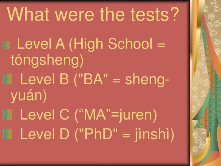 What were the tests?