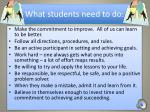 what students need to do