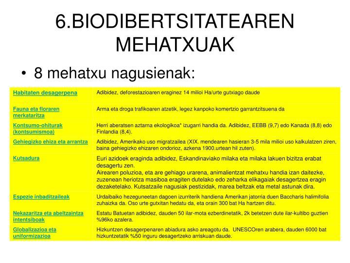 6.BIODIBERTSITATEAREN MEHATXUAK