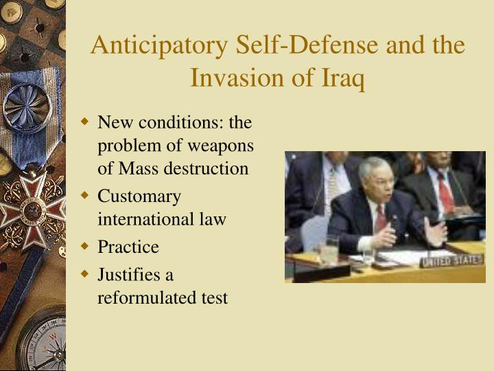 Anticipatory Self-Defense and the Invasion of Iraq