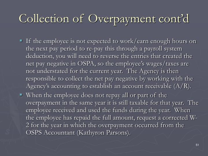 Collection of Overpayment cont'd