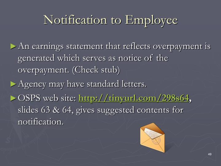 Notification to Employee