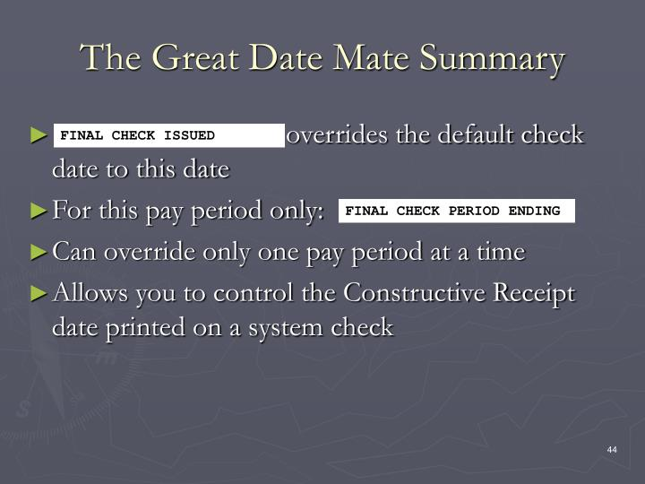 The Great Date Mate Summary