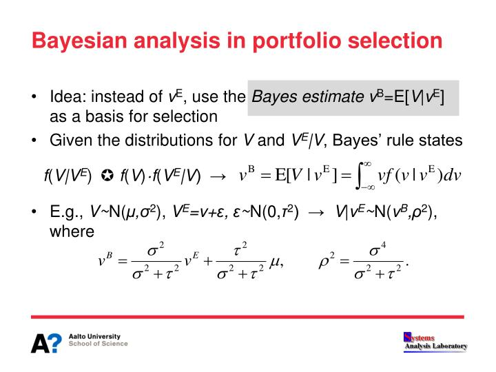 Bayesian analysis in portfolio selection