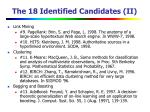 the 18 identified candidates ii