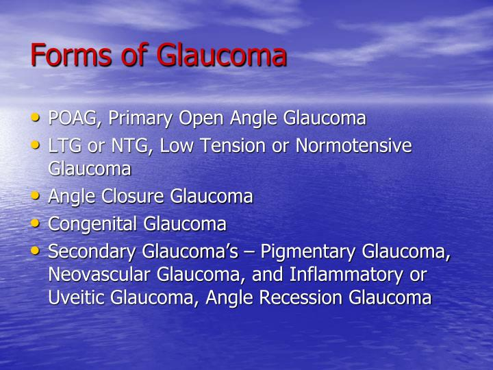 Forms of Glaucoma