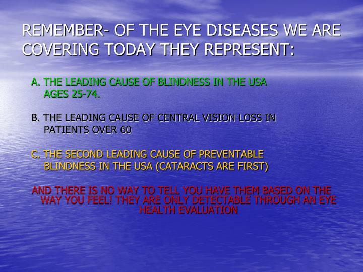REMEMBER- OF THE EYE DISEASES WE ARE COVERING TODAY THEY REPRESENT: