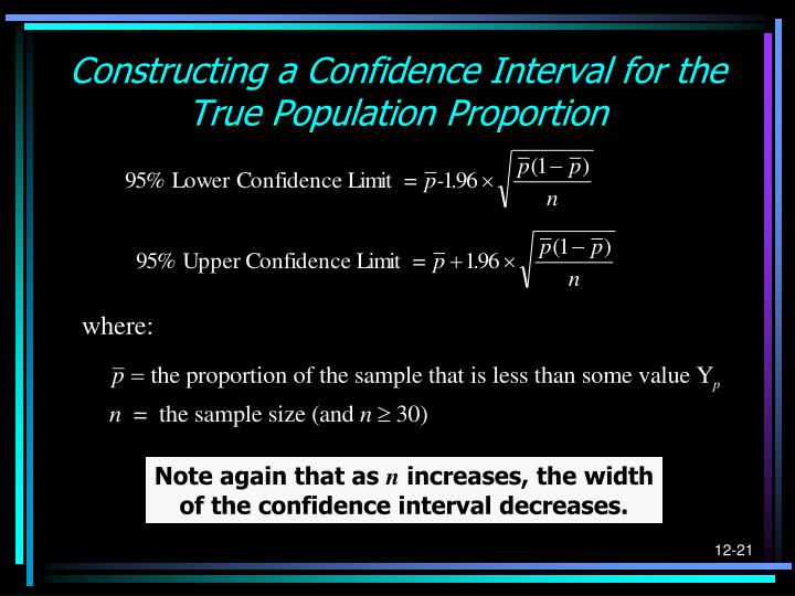 Constructing a Confidence Interval for the True Population Proportion