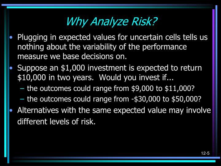 Why Analyze Risk?