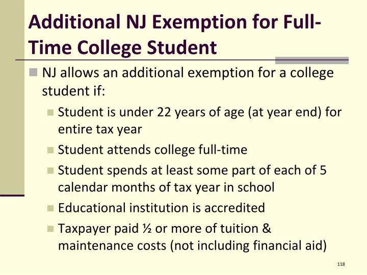 Additional NJ Exemption for Full-Time College Student