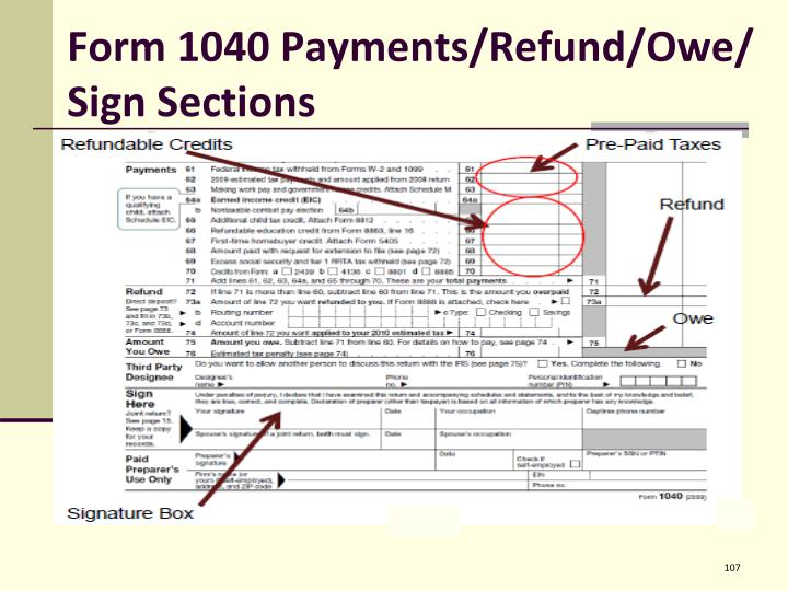 Form 1040 Payments/Refund/Owe/ Sign Sections