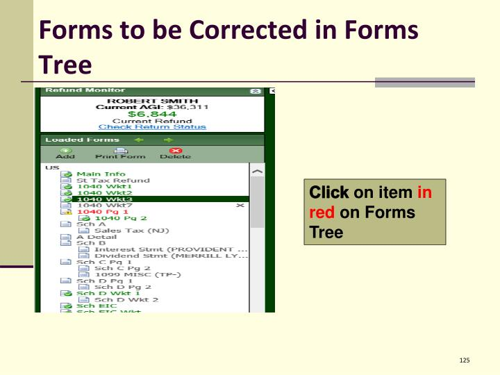 Forms to be Corrected in Forms Tree