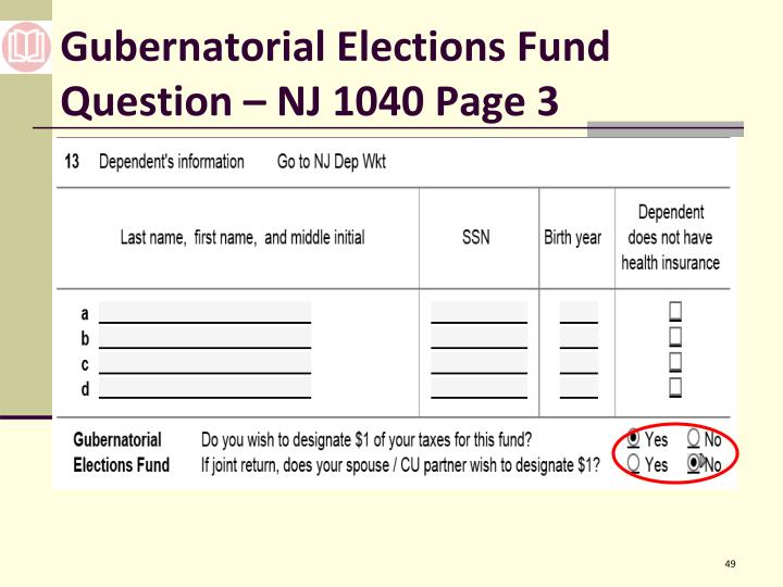 Gubernatorial Elections Fund Question – NJ 1040 Page 3