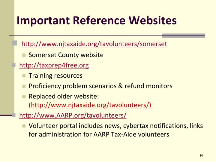 Important Reference Websites