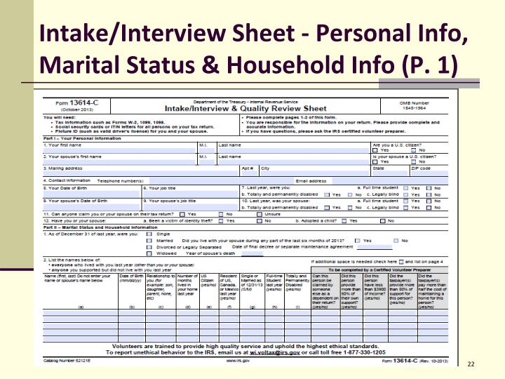 Intake/Interview Sheet - Personal Info,