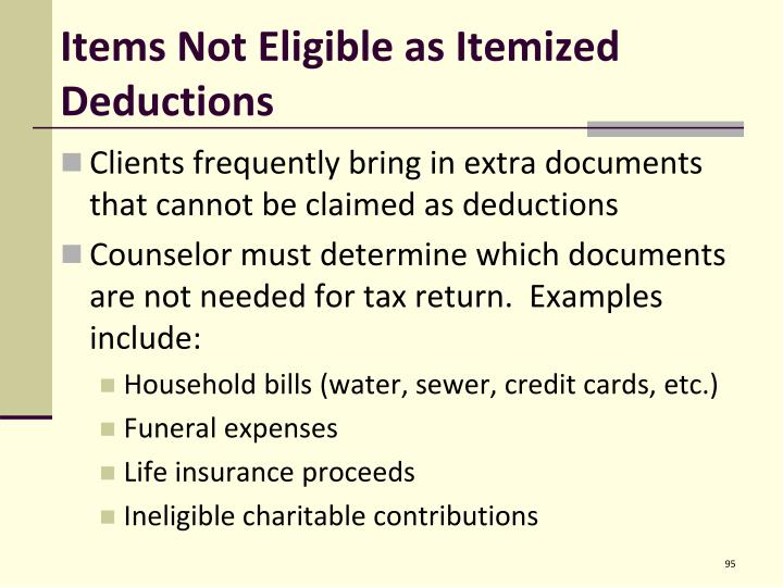 Items Not Eligible as Itemized Deductions