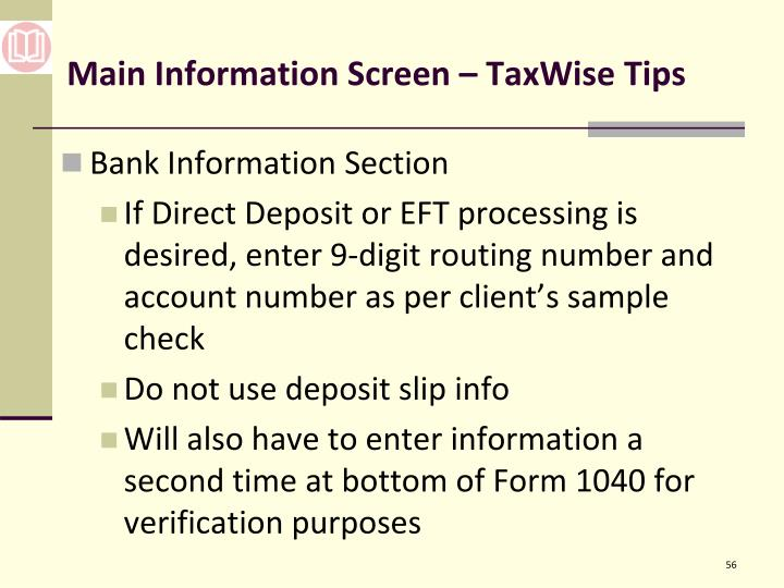Main Information Screen – TaxWise Tips