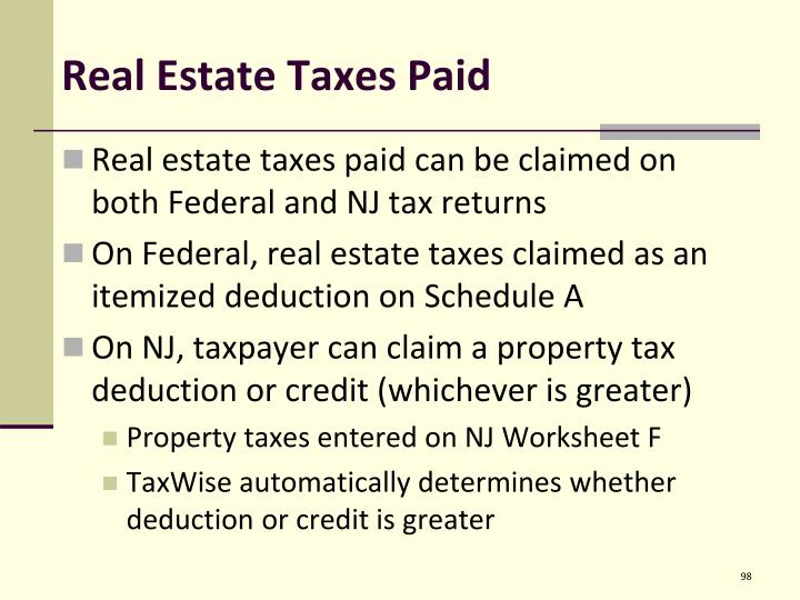 Real Estate Taxes Paid