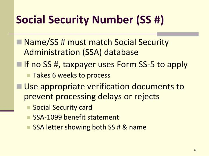 Social Security Number (SS #)