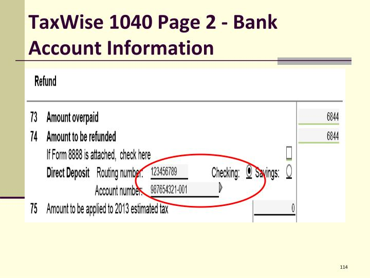 TaxWise 1040 Page 2 - Bank Account Information
