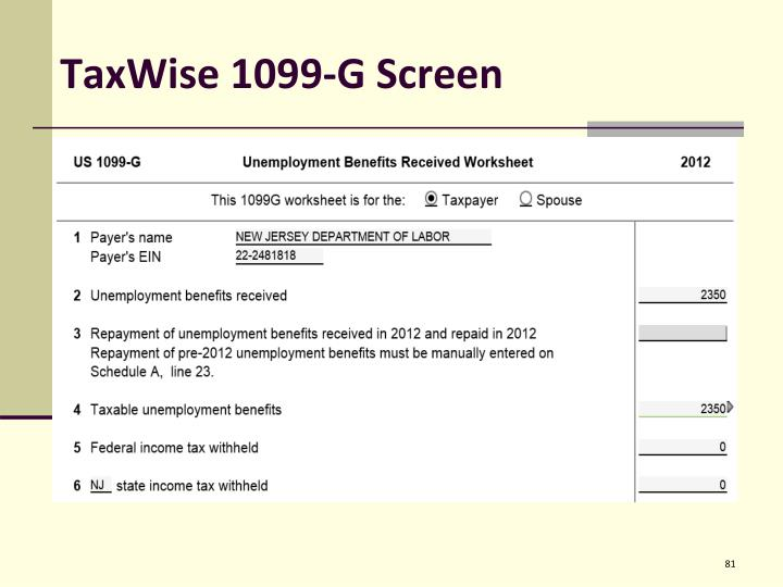 TaxWise 1099-G Screen