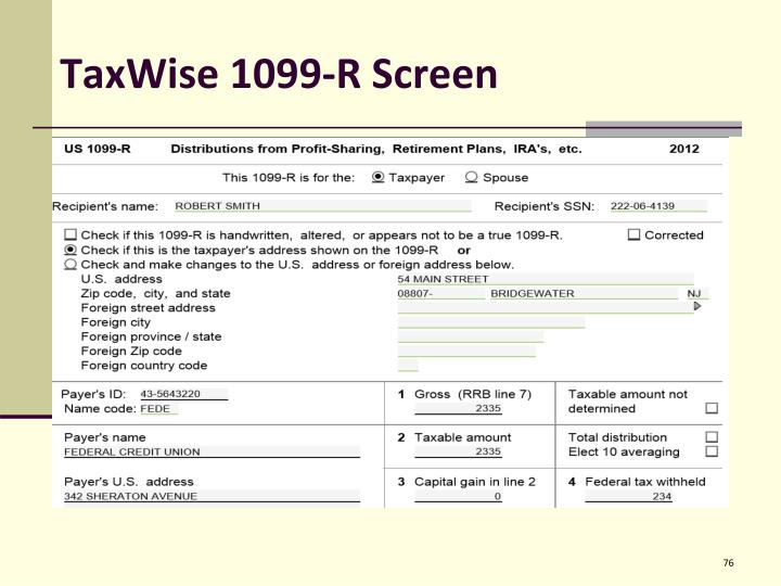TaxWise 1099-R Screen