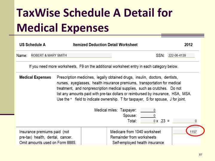 TaxWise Schedule A Detail for Medical Expenses