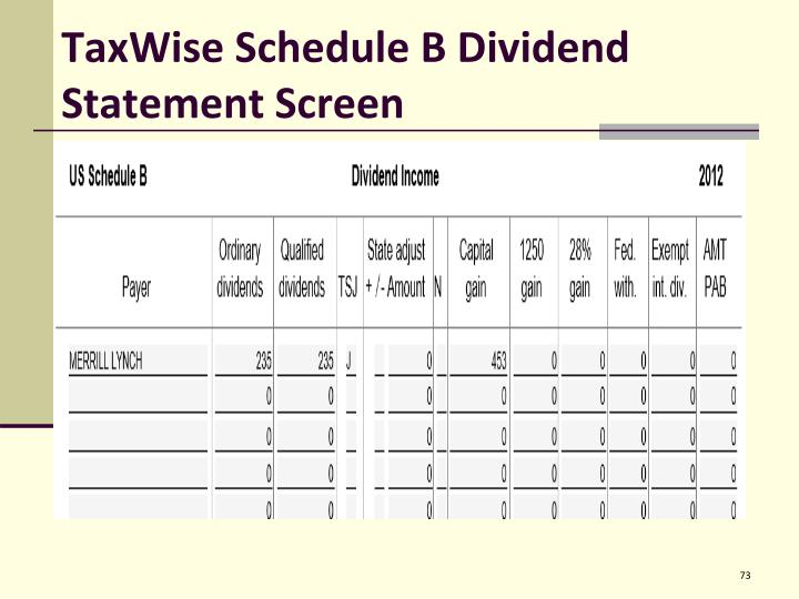 TaxWise Schedule B Dividend Statement Screen