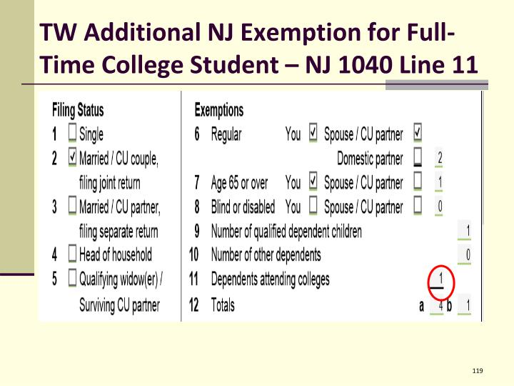 TW Additional NJ Exemption for Full-Time College Student – NJ 1040 Line 11
