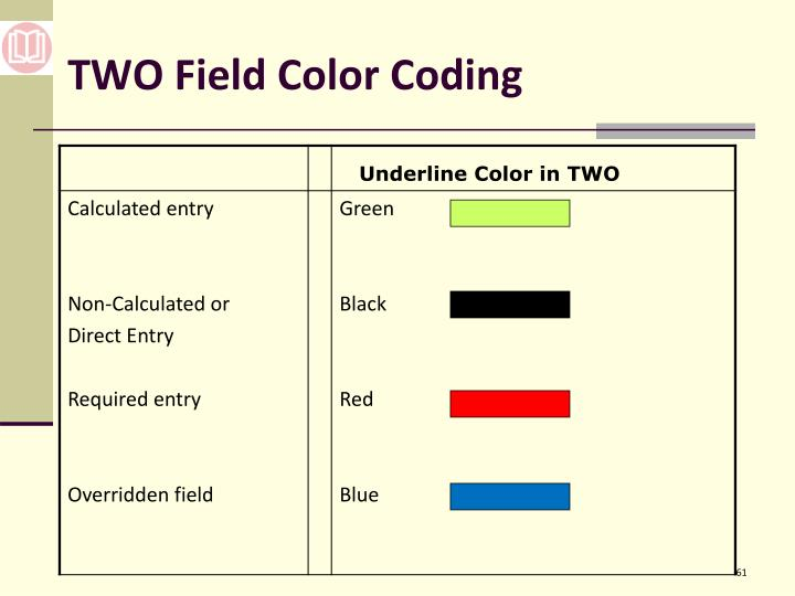 TWO Field Color Coding