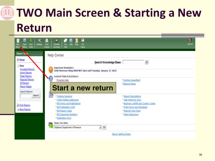 TWO Main Screen & Starting a New Return