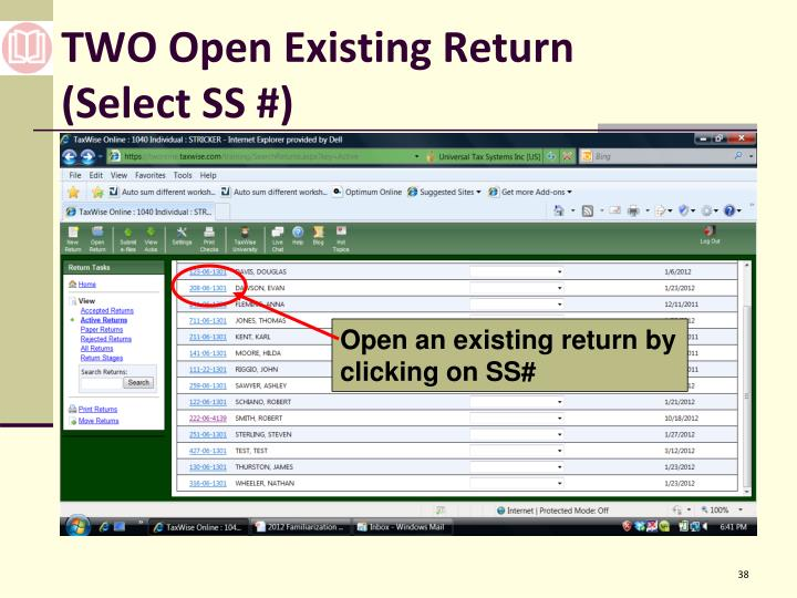 TWO Open Existing Return