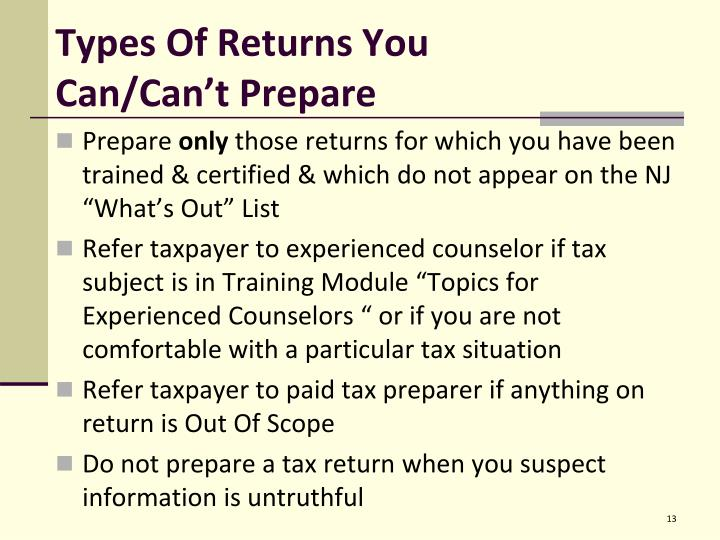 Types Of Returns You