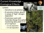 current knowledge ecological effects