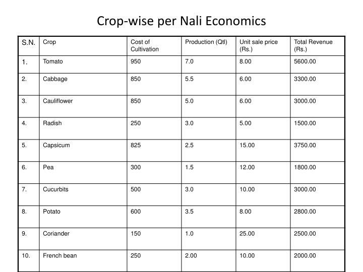 Crop-wise per Nali Economics